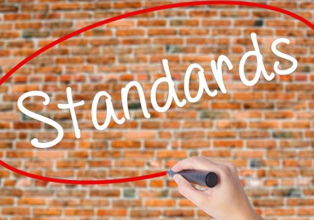 woman hand writing standards with black marker on visual screen. isolated on bricks. business concept. stock photo,