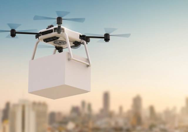 3d rendering delivery drone flying with cityscape background, Hovering drone that takes pictures of city sights