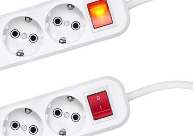 two surge protectors with one showing on and one showing off.