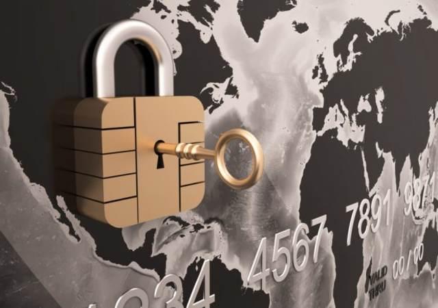 Credit Card Security with padlock , Three-dimensional shape, Credit Card Security with padlock , Three-dimensional shape