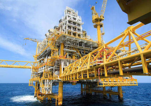 An offshore rig.