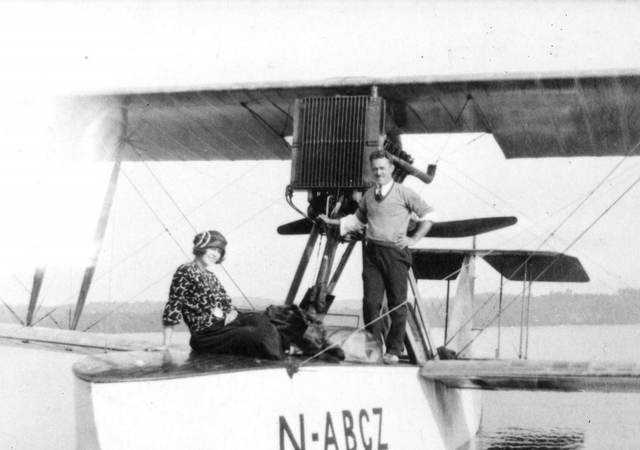 Two passengers enjoy a seaplane that bears a UL Registration Mfark, ca. 1922. |