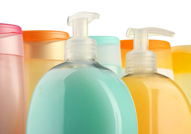 Colorful bottles of soap and shower products