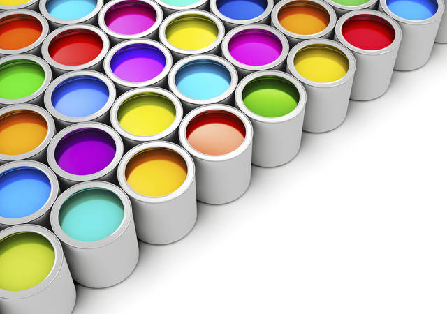 Pristine cans of paint in many colors.