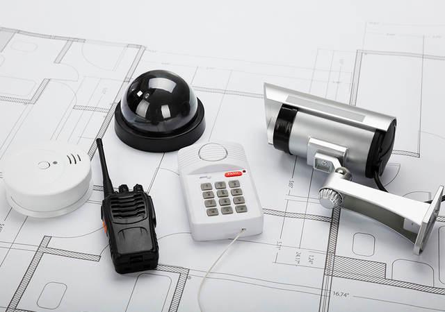 Security equipment on blueprint