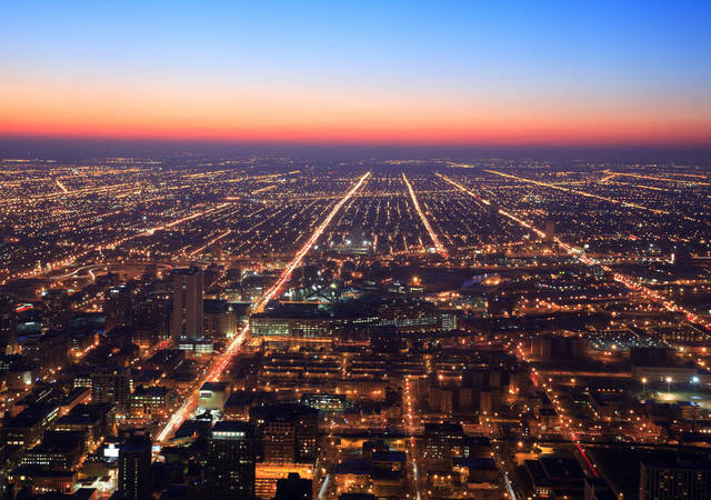 Chicago at night, Illinois