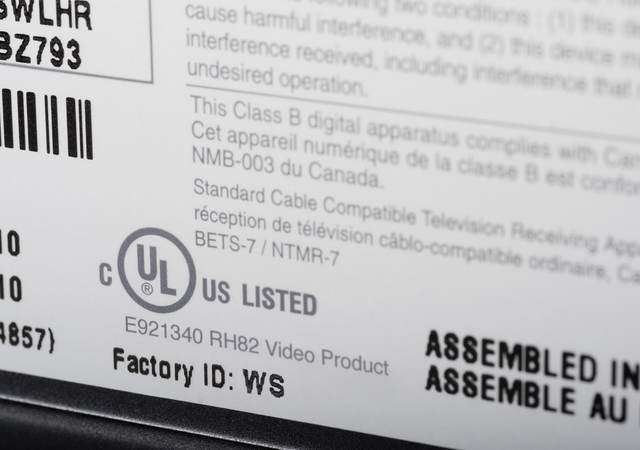 Close-up of an actual UL label on a product