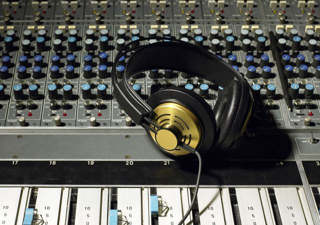 Headphones on an audio control board