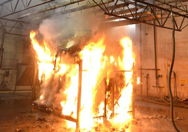A fire test in a testing laboratory