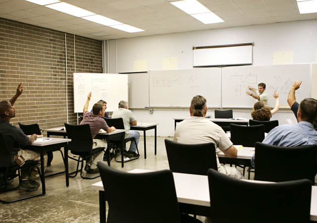 A classroom of individuals learns more about hazardous location training.