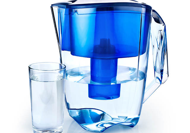 water filter jug and glass of water