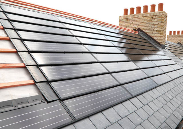 Roof top with BIPV solar panels