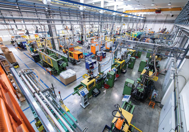 Modern factory floor with machines
