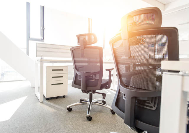 Office chairs in an office environment