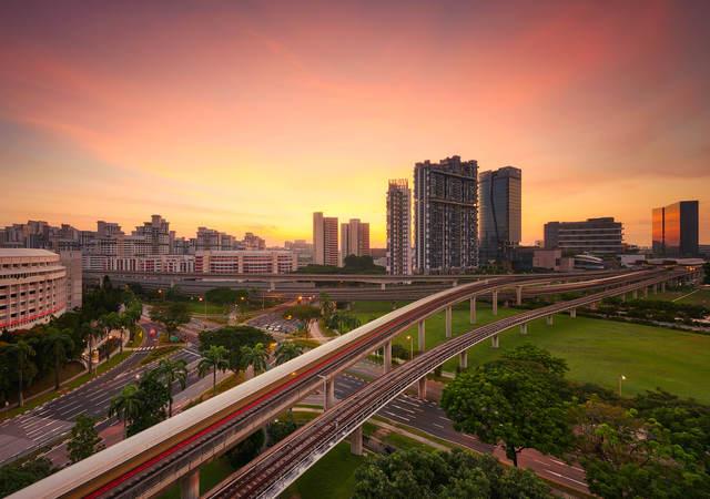 cityscape at sunrise