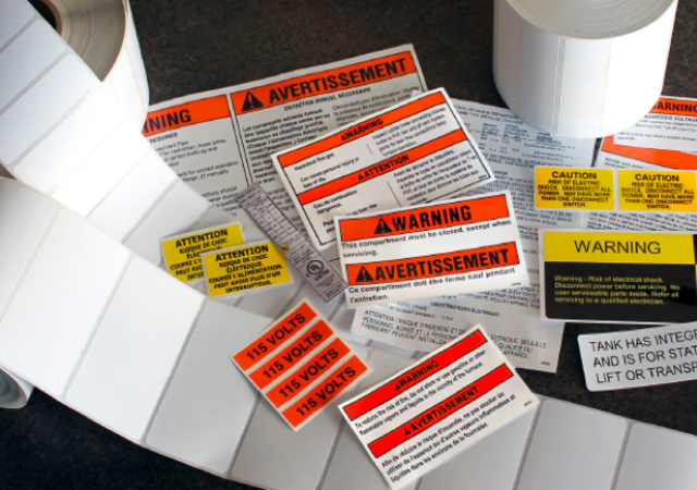 Close up of different types of labels