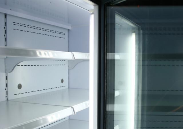 Close up of fridge with door open