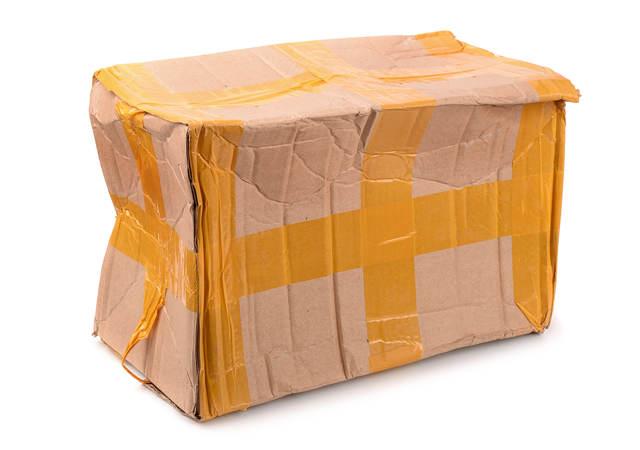 A beaten-up cardboard box.