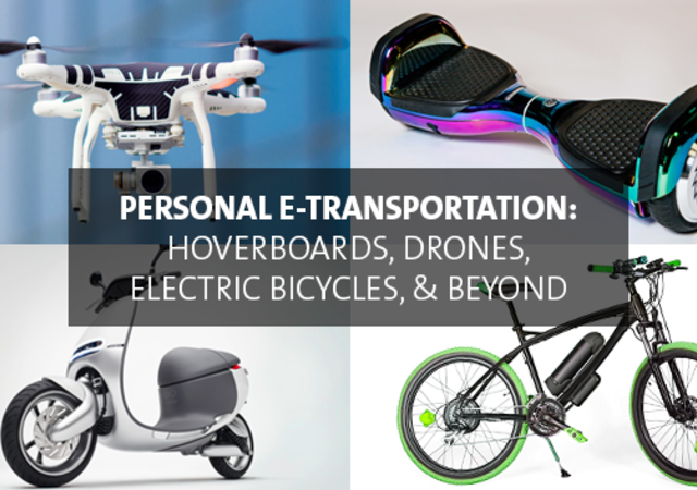 image containing a drone, Hoverboard, eBike, and Power Pack