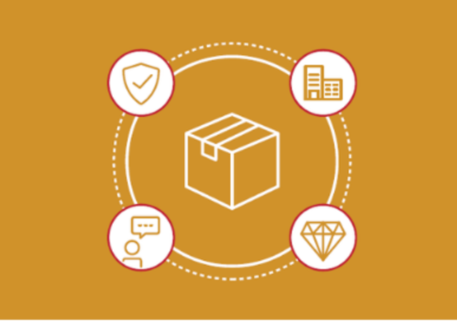 Illustration yellow - package within circle with 4 icons around it