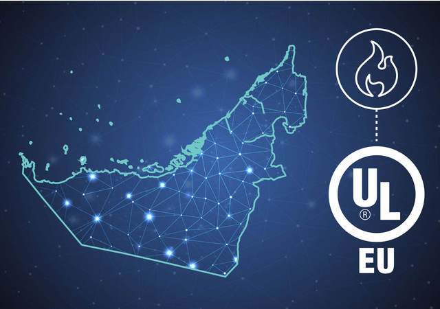 Stylized map of the UAE with UL logo