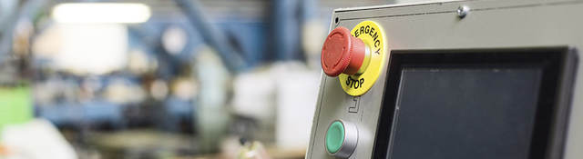 Keypad control panel and LCD screen of metalworking machine.