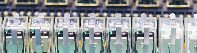 Close up row of Relay actuators