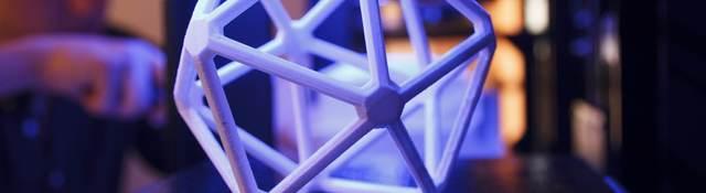 Image of 3D printed icosahedron (20-sided) polymer shape