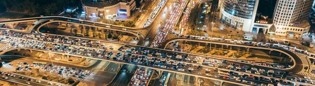 Aerial View of Traffic Jam, Beijing, China