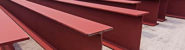 Steel girders ready for installation