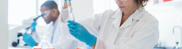 Chemist working on chemicals