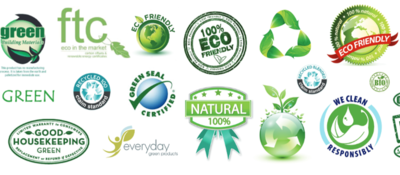 Greenwashing logos.