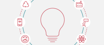 Illustration of lightbulb with 6 icons around it