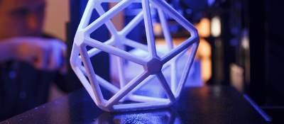 Image of 3D printed icosahedron (20-sided) polymer shape