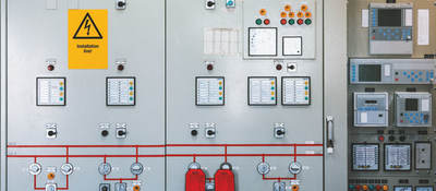 Detail of electronics control systems cabinets in industry low-voltage uninterrupted power in electrical power industrial electrical energy distribution substation