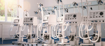 Multiple ventilators and respirators in stock in a clinic warehouse