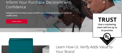 Homepage of UL Verify