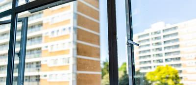Open security window in office building