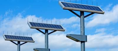 Solar lighting with blue sky in the background