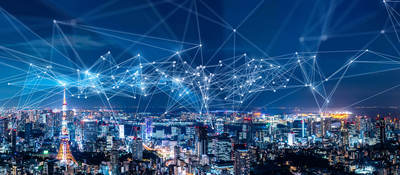 Smart city landscape at night with communication network