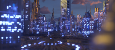 Cityscape with lights on in buildings