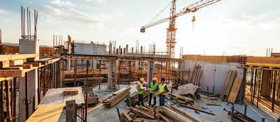 Construction crane on a building site