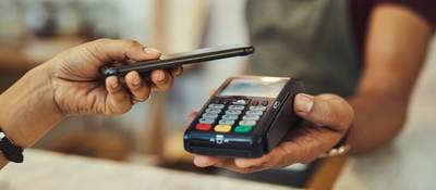 a mobile phone and a payment terminal