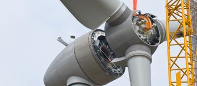 Close up of assembling a wind turbine