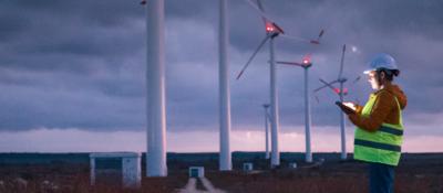 Employee monitoring wind turbine