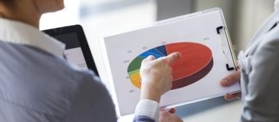Investors reviewing a pi chart