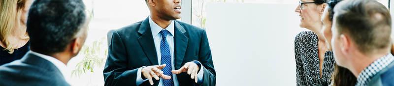 Businessman leading a group workshop