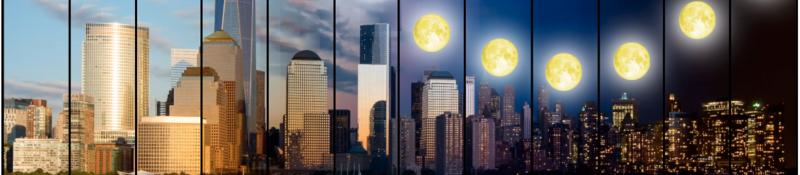 Sun and moon over NYC skyline