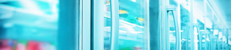 Close up image of products in a supermarket refrigerator