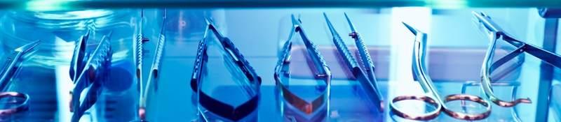 Sterilized equipment under UVC light